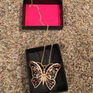Pretty gold/multi color stone butterfly necklace